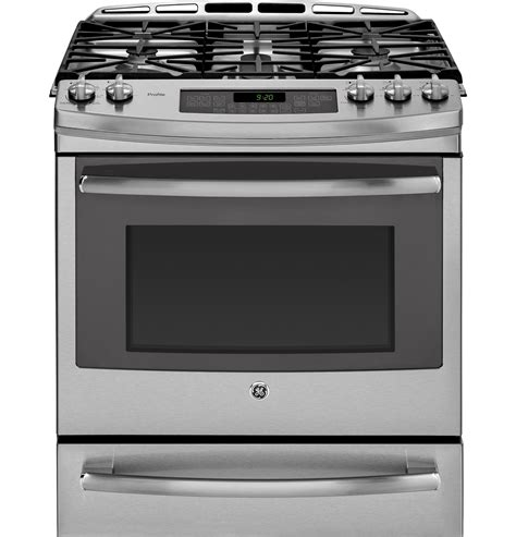 ge profile gas range ge profile series 30 quot slide in front gas range with warming drawer pgs920sefss ge