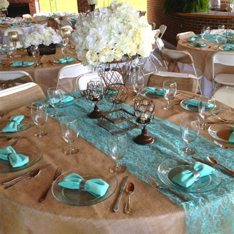 Tiffany, burlap, brown wedding reception! (lighter blue
