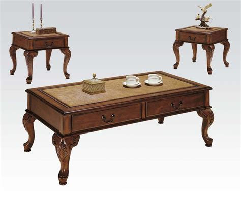 3 Coffee Table Set Acme Furniture Trudeau 3 Coffee End Table Set In Cherry Finish 9652 New Ebay