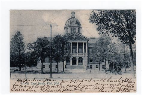 Michigan Court House by Postcard Court House Flint Michigan 1906 Back Undivided Jackie S Vintage Postcards