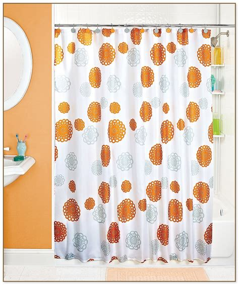 orange and grey shower curtain orange and gray curtains submited images pic2fly brick red
