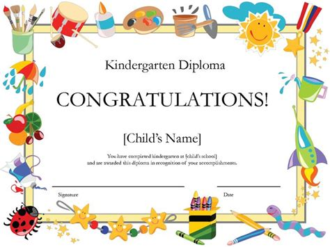 kindergarten certificate templates 48 best certificates images on award