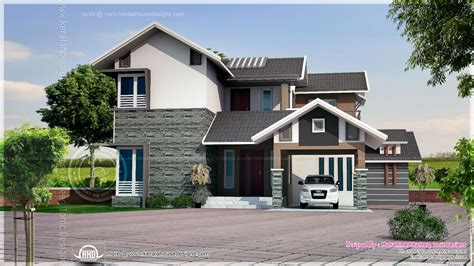 sloped roof house plans square feet sloping roof house elevation kerala home design architecture plans 35902