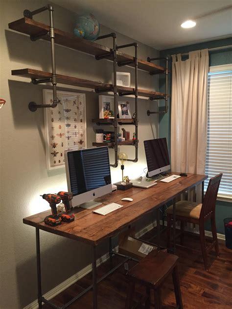 Pipe & wood office   Custom desk, Desk shelves and Pipes