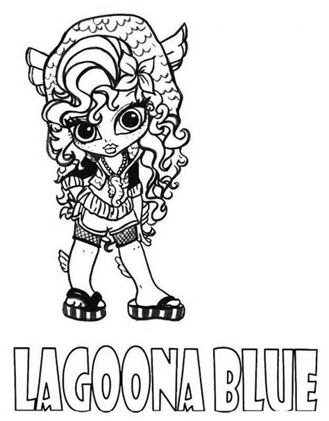 little monster high coloring pages print lagoona blue little girl monster high coloring page