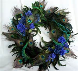 peacock feather wreath teal royal blue home decor original