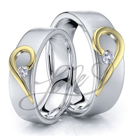 Wedding Rings With Hearts by Solid 014 Carat 6mm Matching His And Hers