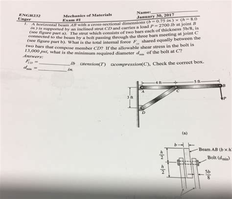 cross sectional dimension a horizontal beam ab with a cross sectional dimens