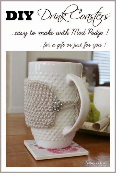 diy mod podge gifts how to make easy mod podge gift diy coasters setting for four