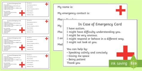 in of emergency card template uk autism in of emergency information cards information
