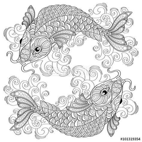 coy fish coloring page koi fish chinese carps adult antistress coloring page