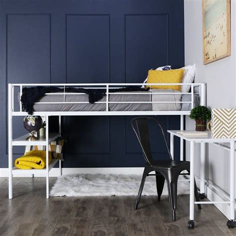 40 Beautiful Kids Beds That Offer Storage With Sweet Dreams White Metal Loft Bed With Desk