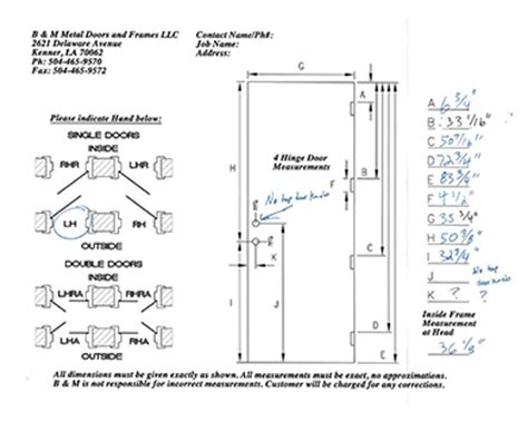 swing form exle measurement guides b m metal doors