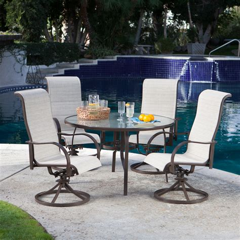 coral coast outdoor furniture coral coast deluxe padded sling rocker dining set seats 4 patio dining sets at hayneedle