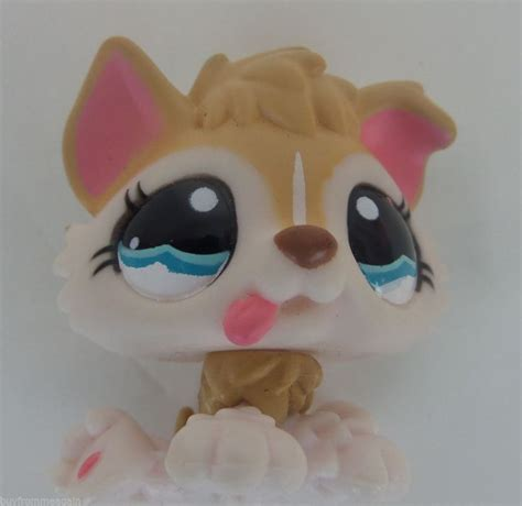 lps puppy littlest pet shop lps 1013 baby husky pink yellow puppy blue