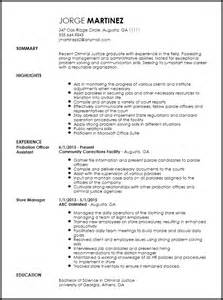 Probation Officer Sle Resume by Free Entry Level Probation Officer Resume Template Resumenow