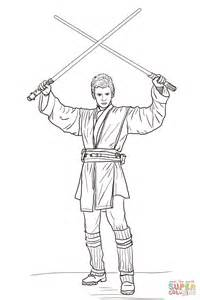 Anakin Skywalker With Two Lightsabers Coloring Page Free Lightsaber Coloring Pages