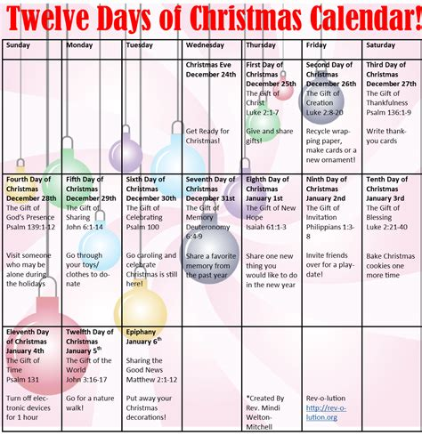 Christmas Rev O Lution 12 Days Of Printable Templates
