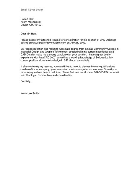 Cover Letter Exle Via Email Cover Letter Format Email Best Template Collection