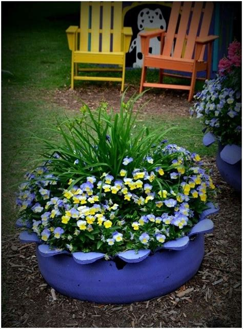 Tire Planters Garden by Tire Planter Outdoor Garden Ideas