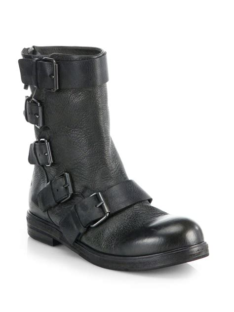 black leather moto boots lyst mars 232 ll buckled leather mid calf moto boots in black