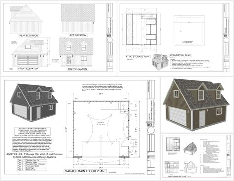 building plans for garage g527 24 x 24 x 8 garage plans with loft and dormer sds