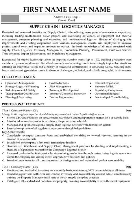 Best Resume Sles For Logistics Manager Top Logistics Resume Templates Sles