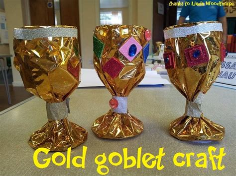 christian craft gold triquetrum gold goblet craft wrap metallic wrapping paper around a dollar store plastic goblet