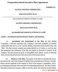 corporation stock incentive plan agreement sample