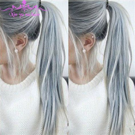 salt and pepper hair with lilac tips hot sale brazilian ombre silver grey human hair wigs full