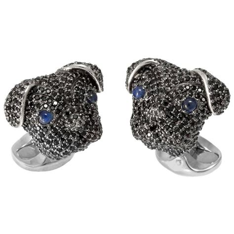 pug cufflinks deakin and francis black spinel sterling silver pug cufflinks for sale at 1stdibs
