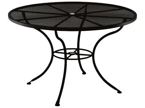 Iron Patio Tables Ow Mesh Wrought Iron 60 Dining Table With Umbrella 60 Mu