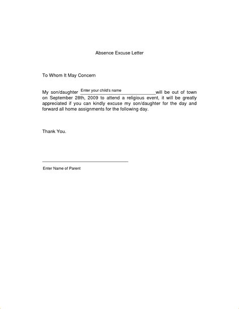 Excuse Letter For Absent In School 11 Absence Excuse Letteragenda Template Sle Agenda Template Sle