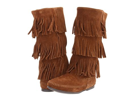 fringe boot minnetonka calf hi 3 layer fringe boot zappos free
