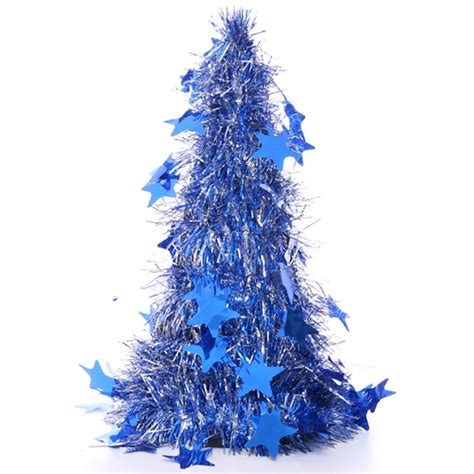 blue and silver 26cm tinsel tree
