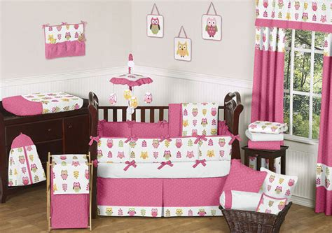 Designer Nursery Bedding by Designer Pink And White Happy Owl Nature Theme Baby