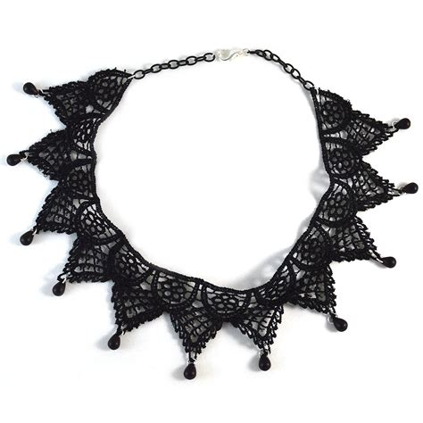 Black Collar Necklace black lace collar necklace twisted pixies
