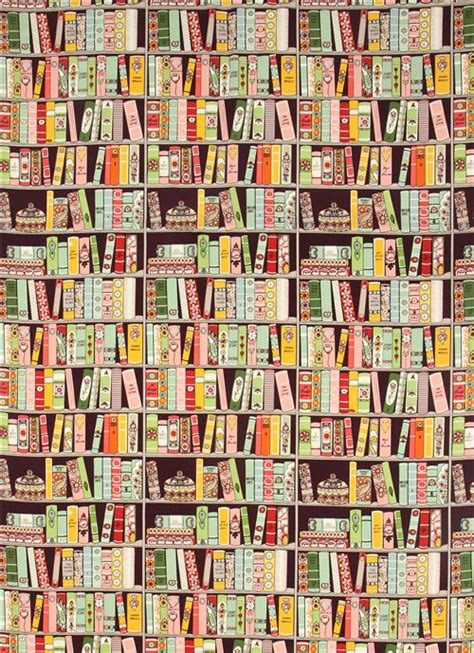 purple henry bookshelf fabric with books