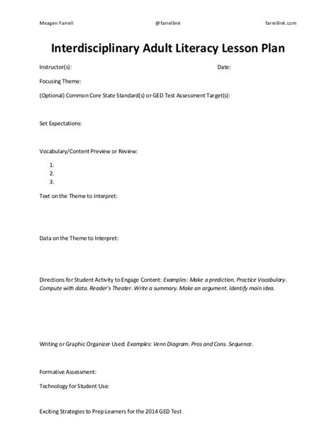 lesson plan template for adults literacy lesson plan sle template