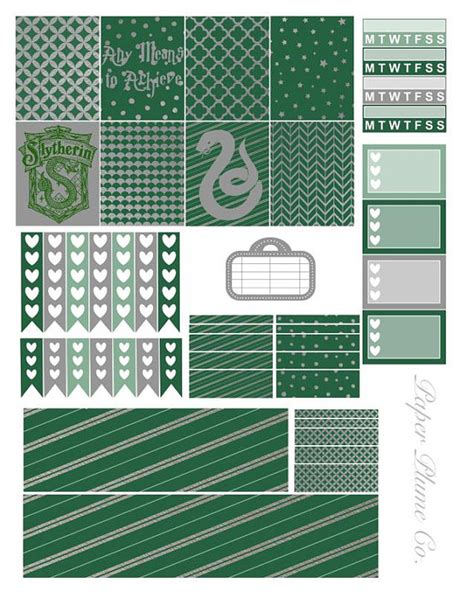 printable planner stuff printable harry potter slytherin planner stickers by