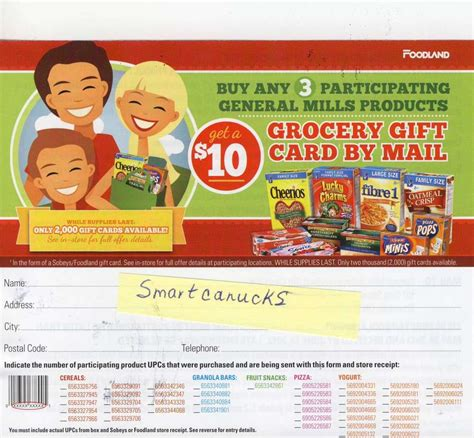 Foodland Gift Card - sobeys foodland 10 gift card wub 3 participating general mills products