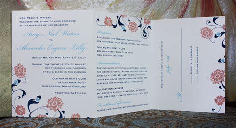 wedding invitations all in one carolina blue pink navy flowers swirls vines all in one wedding invitations emdotzee designs