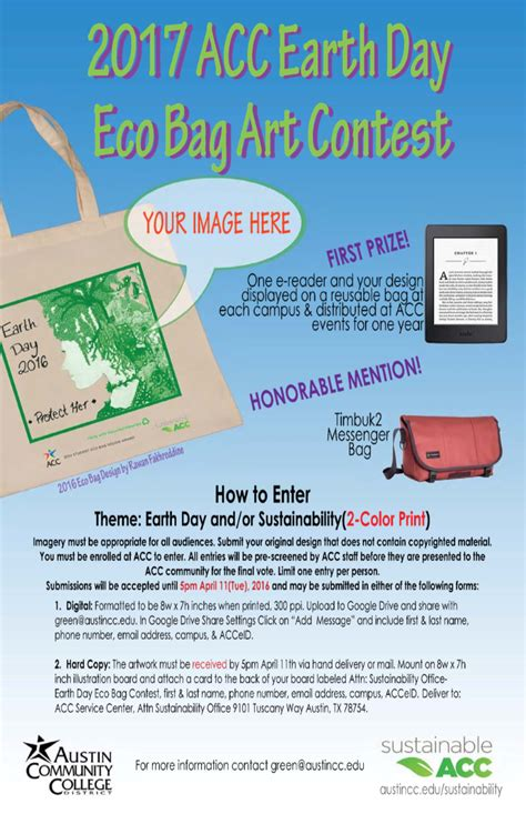 eco bag design contest vote celebrate earth week april 17 22 acc newsroom