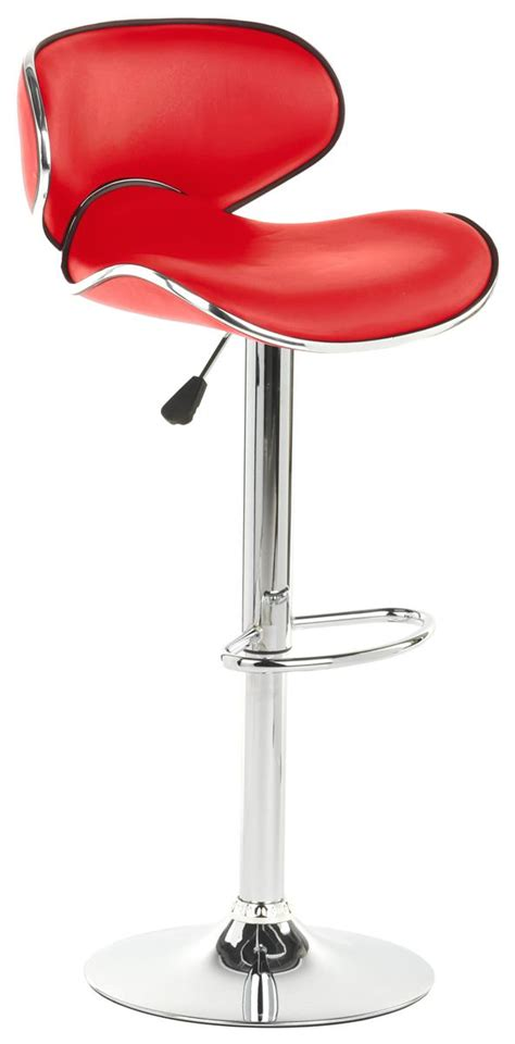 red bar stool leatherette cushioned seat  foot rest hydraul