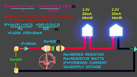 resistor para led em 24v 3 3v 2 2v led how to connect 24v circuit how to calculate led series resistor watts volt s