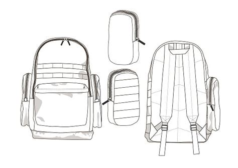 Backpack Fashion Flat Template Templates Creative Market Backpack Design Template