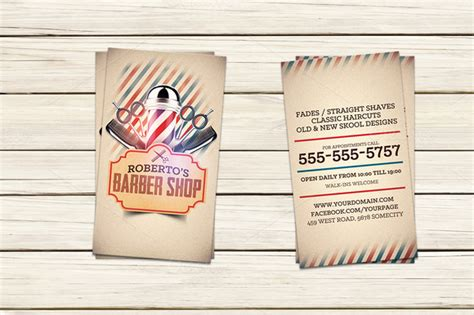 Barber Shop Business Card Template Business Card Templates On Creative Market Free Barber Business Card Template