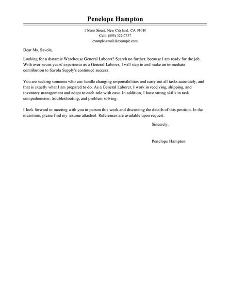 exles of general cover letters general labor cover letter sle my cover letter