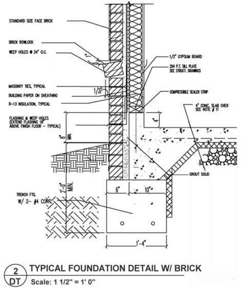 foundation wall section title blocks building codes northern architecture