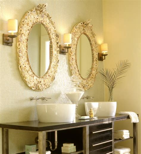 shell bathroom mirror seashell mirror cottage bathroom the iron gate